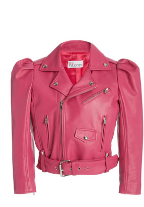 RED Valentino Puff Sleeve Cropped Leather Jacket