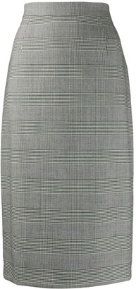 Escada Check Print Pencil Skirt