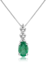 Tagliamonte Incanto Royale Diamond and Emerald Drop 18K Gold Pendant Necklace