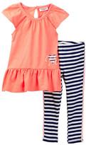 Juicy Couture Burnout Tunic & Striped Legging Set (Toddler Girls)