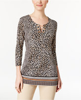 JM Collection Printed Chain-Link Tunic, Only at Macy's