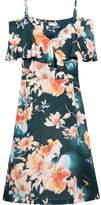 Paul & Joe Cold-shoulder Floral-print Satin-twill Dress - Orange