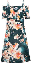 Paul & Joe Cold-shoulder Floral-print Satin-twill Midi Dress - Orange