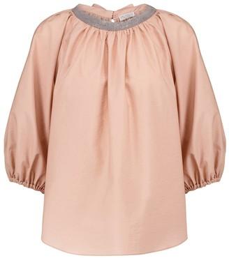 Brunello Cucinelli Embellished cotton-blend blouse