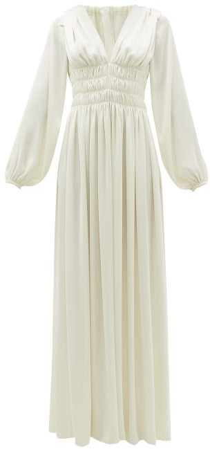 Maison Rabih Kayrouz Shirred-waist Ruched-shoulder Satin Dress - Cream