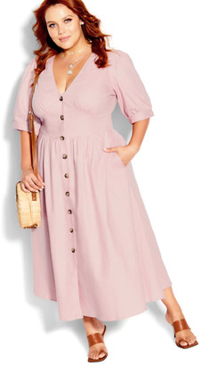 City Chic Sunset Stroll Dress - dusty rose