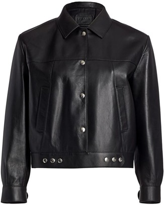 Prada Snap-Sleeve Leather Jacket