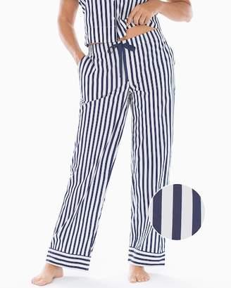 Cool Cotton Stretch Woven Pajama Pants Capri Stripe Navy