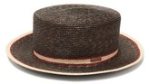 Fendi Striped Straw Boater Hat - Womens - Brown