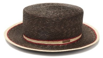 Fendi Striped Straw Boater Hat - Brown