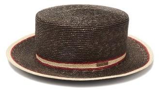 Fendi Striped Straw Boater Hat - Womens - Brown