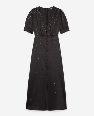 The Kooples Satin long black dress with studs