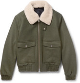 Ami Shearling-trimmed Wool-blend Bomber Jacket - Army green