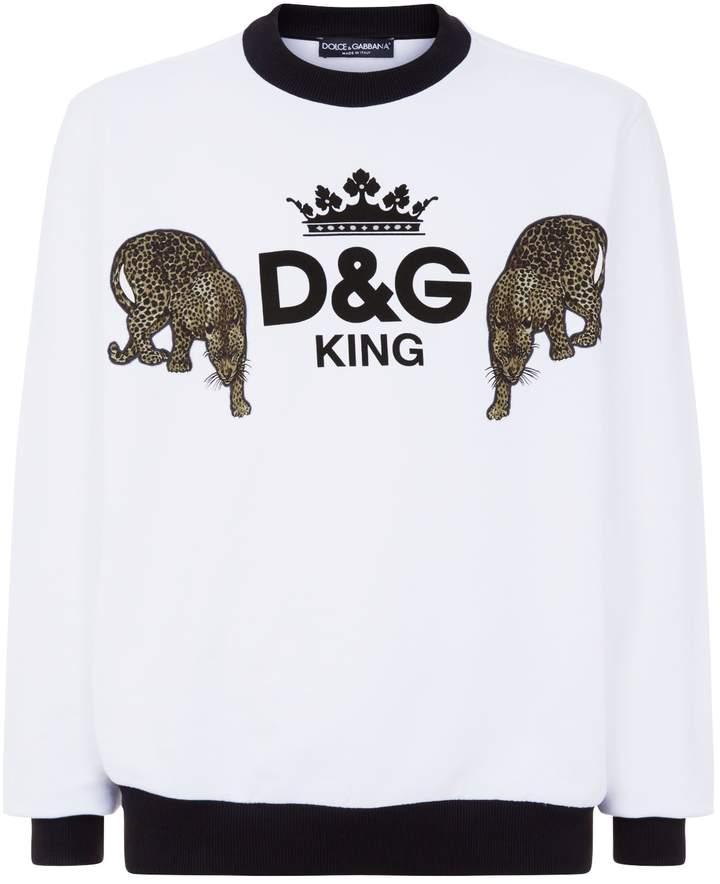 Dolce & Gabbana Leopard Appliqué Logo Sweatshirt