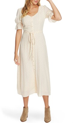 1 STATE Scatter Dot Puff Sleeve Midi Dress