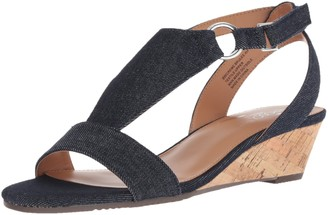 Aerosoles Women's Creme Brulee Wedge Sandal Denim 8 W US