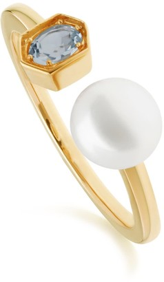 Gemondo Modern Pearl & Blue Topaz Open Ring In Gold Plated Silver