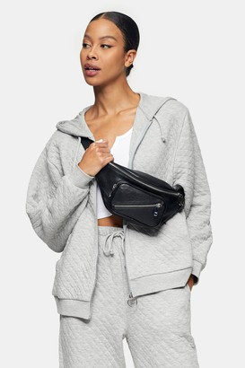 Topshop Womens Grey Marl Quilted Zip Hoodie - Grey Marl