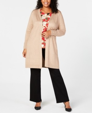 JM Collection Plus Size Lace-Up Metallic Cardigan, Created for Macy's