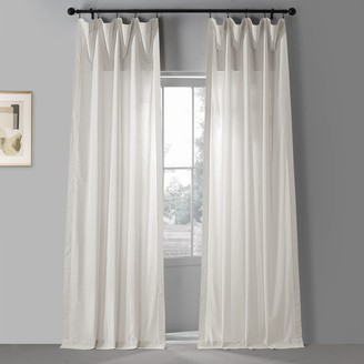 EFF Solid Classic Cotton Semi Sheer 2-pack Window Curtain Set