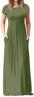 Tosonse Summer Casual Maxi Dresses for Women Short Sleeve O Neck Solid Color T Shirt Dress Floor Length Party Dresses Green