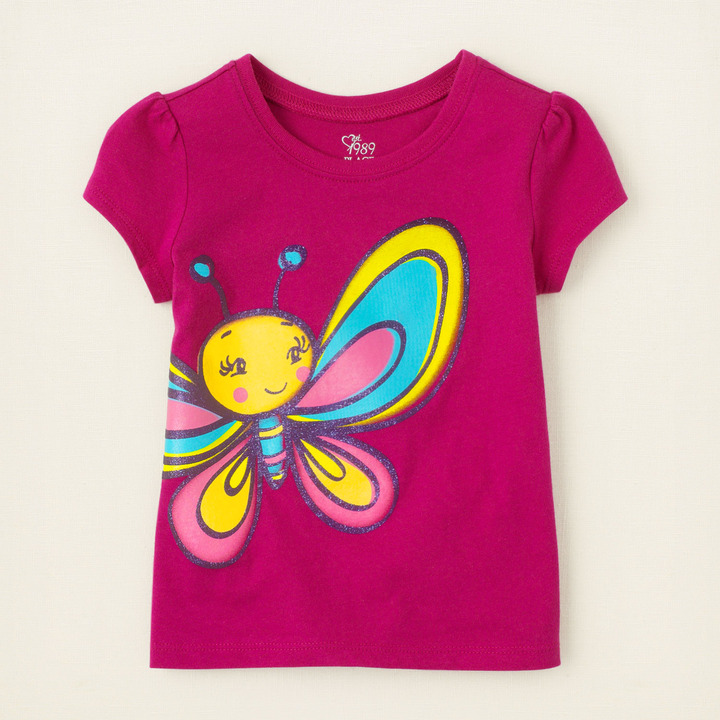 Children's Place Butterfly face graphic tee