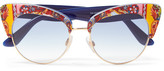 Dolce & Gabbana Cat-eye Printed Acetate And Gold-tone Sunglasses - Navy