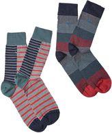 White Stuff Men's Stan stripe 2 pack socks