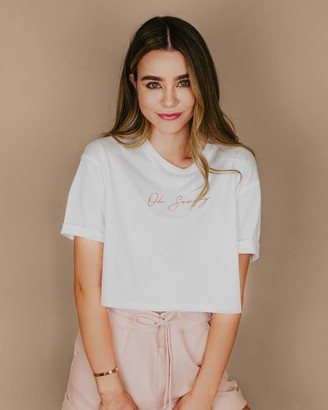 "The Drop Women's White Boxy ""Oh Sunday"" Script Logo T-Shirt by @sierrafurtado XXS"