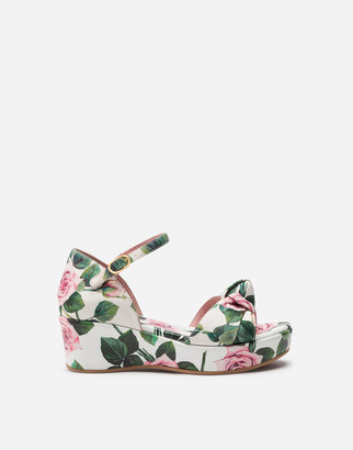 Dolce & Gabbana Ankle Strap Wedges In Poplin With Tropical Rose Print