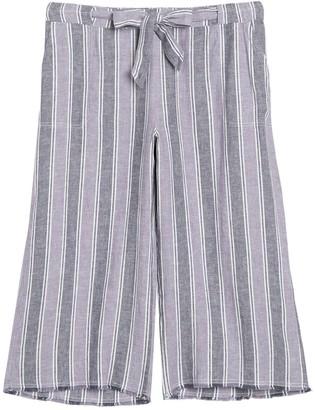 Caslon Striped Linen Blend Crop Pants (Plus Size)