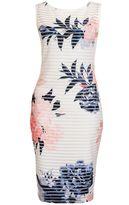 Quiz Cream And Coral Floral Sleeveless Midi Dress