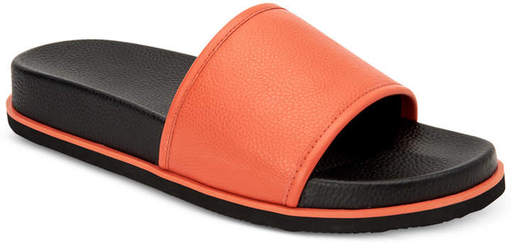Calvin Klein Men Mackee Tumbled Smooth Leather Slides Men Shoes