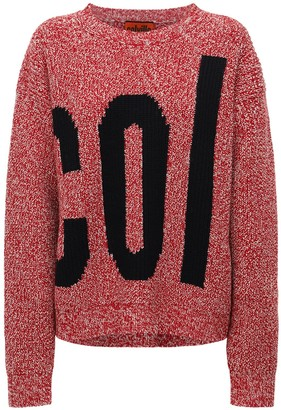 Colville Rib Knit Intarsia Logo Wool Sweater
