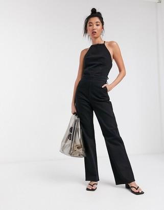 Weekday Alton lace-up back denim jumpsuit in washed black
