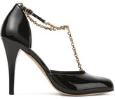 Vanessa Seward Carmen Chain-Embellished Patent-Leather Pumps