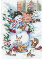 """Dimensions Petite Snowman & Friends Counted Cross Stitch Kit-5""""X7"""" 18 Count"""