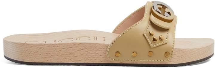 Gucci Leather slide sandal with Interlocking G