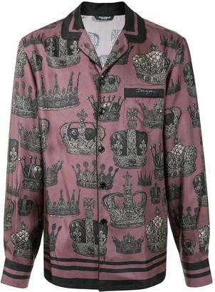 Dolce & Gabbana Crown Print Pyjama Shirt