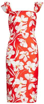 Milly Dayna Hibiscus Print Silk Twill Sheath Dress