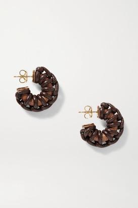 Bottega Veneta Leather, Wood And Gold-tone Earrings - Dark brown