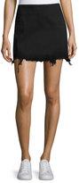 Alexander Wang Faded Denim Zip-Back Mini Skirt, Black