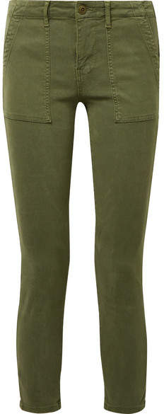 The Great The Skinny Armies Brushed-twill Pants - Army green
