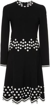 Lela Rose Geometric-Detailed Knit Midi Dress