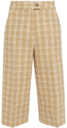 MSGM Cropped Checked Cotton-blend Tweed Wide-leg Pants