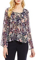 Alex Marie Cassie Round Neck Long Sleeve Ruffle Front Lace-Up Blouse