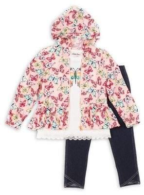 Little Lass Little Girl's 3-Piece Butterfly Layered Challis Jacket, Top & Denim Leggings Set
