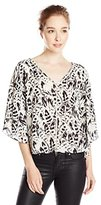 Jessica Simpson Women's Reece Blouse DBL V-Top-White