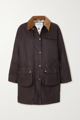 Barbour + Alexachung Rowan Corduroy-trimmed Waxed-cotton Jacket - Brown