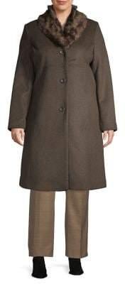 Jones New York Plus Faux Fur-Trim Wool-Blend Coat